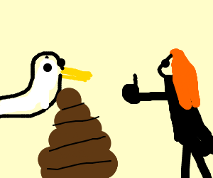 Girl in black approves of duck megapoop.