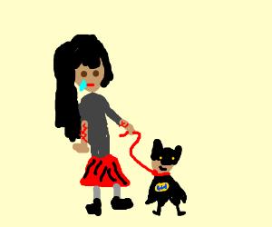 Sad emo and her pet bat