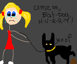 crying girl walks her batmandog