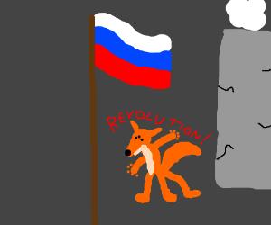 "mutant fox says ""Revolution"" under russia flag"