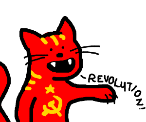 Communist cat leads the revolution!