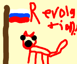 red russian cat cries for revolution