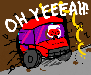 Kool-Aid monster truck smashes through wall.
