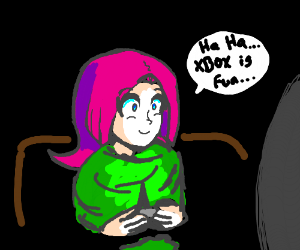 Pink haired snuggly-wearing person plays xbox