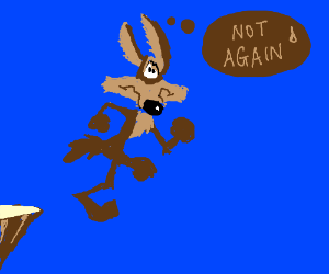 Wile E. Coyote ran off the edge of a cliff.