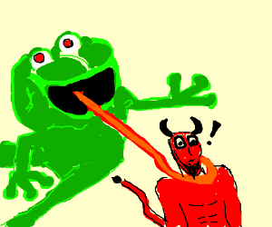 Frog monster grabbing the devil.