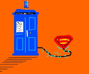 Superman's strength displaces Tardis