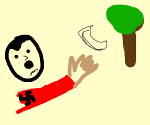 Hitler throws boomerang at tree.