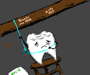 Tooth hang itself with toothfloss. R.I.P.
