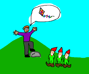 man on hill tells 3 garden gnomes to fly kite