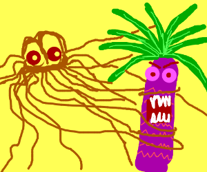 Spaghetti Monster assaults Mutant Palm Tree