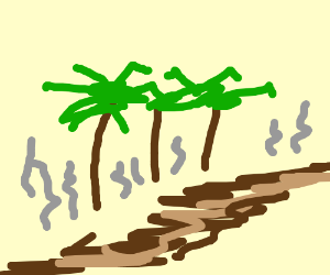 Badly draw palm trees and a river of poop