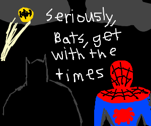 Hipster Spider-Man thinks Bat Signal is lame.