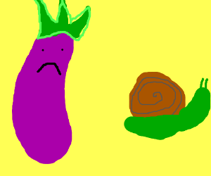 Punk rock eggplant saddened by snail