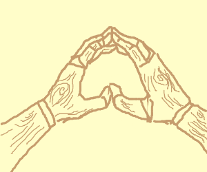 wooden hands touching