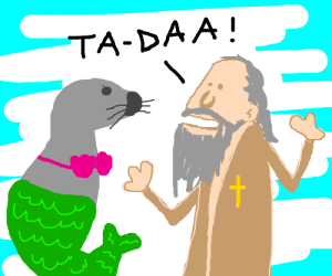 Old Jesus turns seal into a mermaid