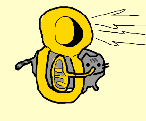 Fat Cat In Brown Overalls Plays The Tuba Drawing By Slothpoo
