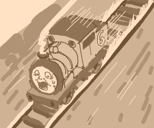 Percy (the tank engine) can't stop.