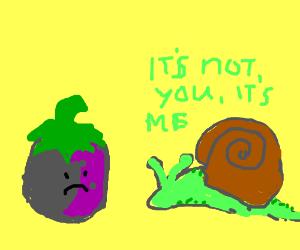 Snail breaks an aubergine's heart