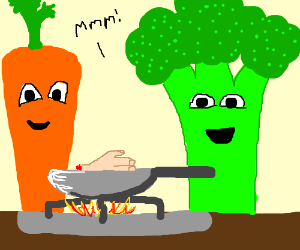 humanoid vegetables talking on TV