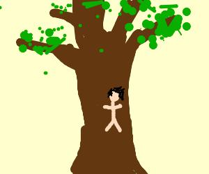 A human tree bark