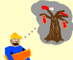 little boy thinks about meat tree