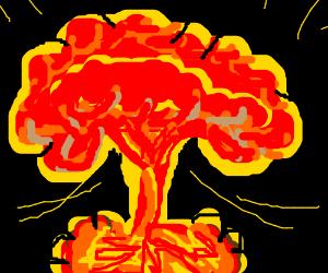 Mushroom cloud from an atom bomb