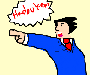 Phoenix Wright Hadokens instead of Objecting