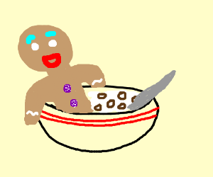 Gingerbread man bathes in cereal