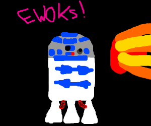 R2D2 blocks Ewok fireball
