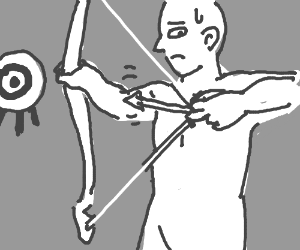 Man tries to fire an arrow that is too short