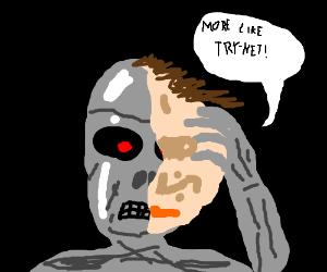 Terminator peels off face; makes Skynet pun