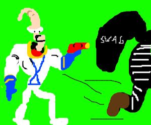 Earthworm Jim fights burglar in daylight.