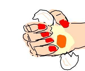 A raw egg broke in my hand again!
