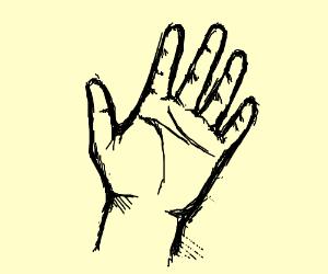 Realistically drawn hand