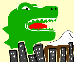 Godzilla stops Tokyo from difting away