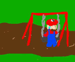 Poor Mario is alone on a playground swing.