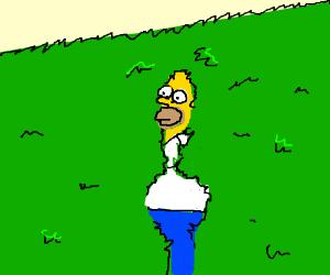 Homer Simpson creepily backing up into a bush Drawception