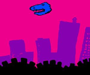 Dino head floats above city.
