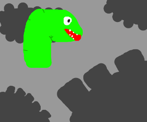 Floating dinosaur head in cog city.