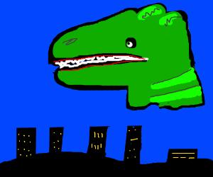 Giant dinosaur head floats over the city