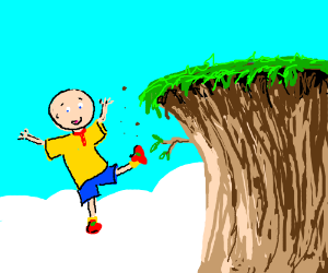 Caillou careless, casually carreens off cliff