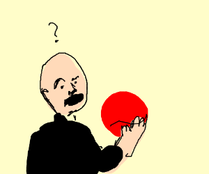A confused man prepares to eat a red ball.