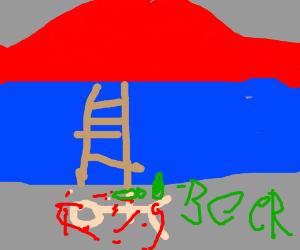 A drunk Captain Haddock falls down a ladder - Drawception