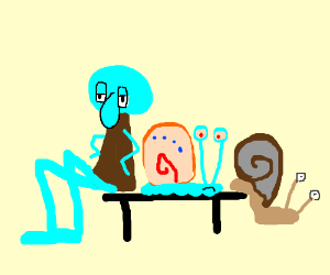squidward sits with gary and another snail