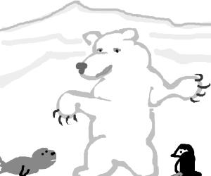 Boxing polar bear beats seal and penguin