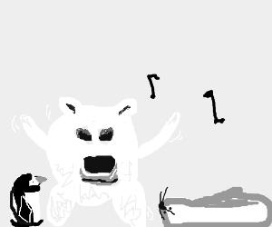 Polar bear dances between seal and penguin.