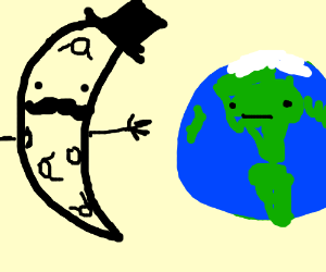 Mr. Mustache Moon tries to hug the earth