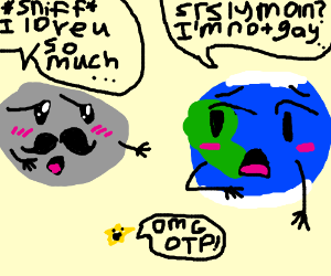 Mr. Mustache moon trying to hug earth