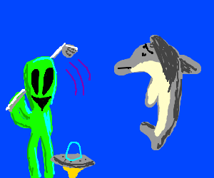 Alien drives saucer underwater, by a dolphin.